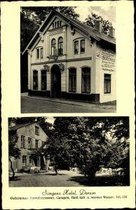 Ak Dorum Wurster Nordseeküste Landkreis Cuxhaven, Simgens Hotel, Außenansicht