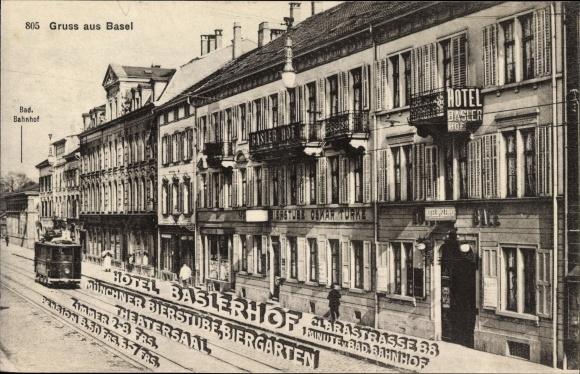 Ak Bâle Basel Stadt Schweiz, Straßenpartie, Hotel Baslerhof, Clarastraße 38, Straßenbahn 0