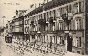 Ak Bâle Basel Stadt Schweiz, Straßenpartie, Hotel Baslerhof, Clarastraße 38, Straßenbahn