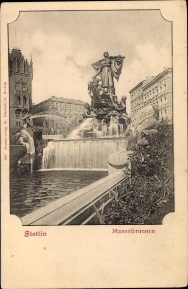 Ak Szczecin Stettin Pommern, Partie am Manzelbrunnen