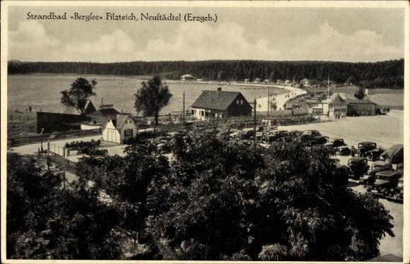 Ak Neustädtel Schneeberg im Erzgebirge, Blick auf Strandbad Bergsee Filzteich