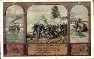 Künstler Ak Starcke, W., Heldensinn und Heldenmut, Schlachtszene, Kriegsschiff, I. WK
