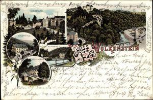 Litho Wolkenstein im Erzgebirge, Warmbad, Waldmühle, Hüttenmühle, Floßplatz