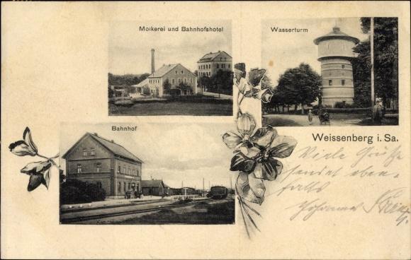 Ak Weißenberg in der Oberlausitz, Molkerei und Bahnhofshotel, Wasserturm, Bahnhof