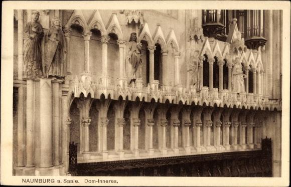 Ak Naumburg an der Saale, Innenansicht vom Dom, Orgel, Fassade