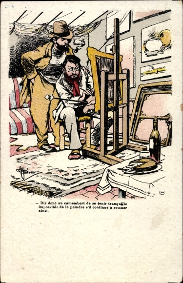 Künstler Ak Guillaume, Albert, Maler an einer Staffelei, Stillleben Szene, Camembert