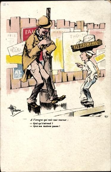 Künstler Ak Guillaume, Albert, Betrunkener an einer Laterne