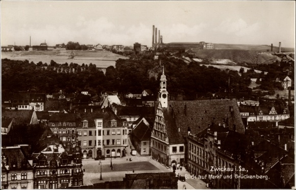Ak Zwickau in Sachsen, Blick auf den Markt und Brückenberg