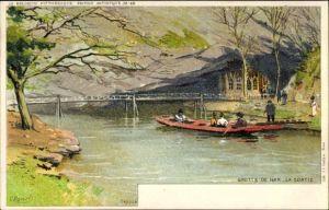 Künstler Ak Ranot, F., Han sur Lesse Rochefort Wallonien Namur, La Sortie, Ruderboot auf dem Fluss