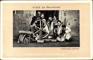 Ak Palästina, Tisserands Syriens, Weber, Webstuhl, Chocolaterie d'Aiguebelle
