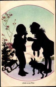 Künstler Ak Winkler, Rolf, Hilfe in der Not, weinender Junge mit Schlitten