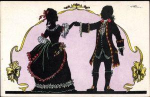 Künstler Ak Mann und Frau in historischer Kleidung, Tänzer
