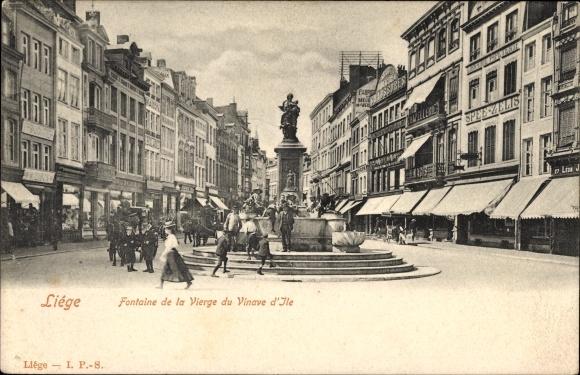 Ak Liège Lüttich Wallonien, Fontaine de la Vierge du Vinave d'Ile, Geschäfte