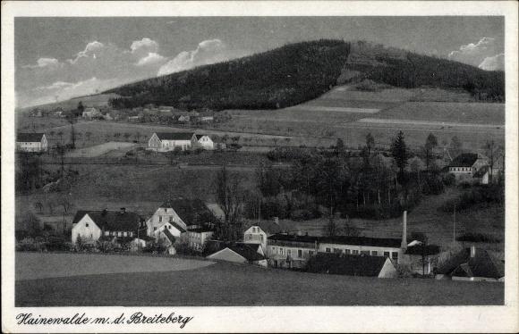 Ak Hainewalde Großschönau im Kreis Görlitz, Blick über den Ort auf den Breiteberg