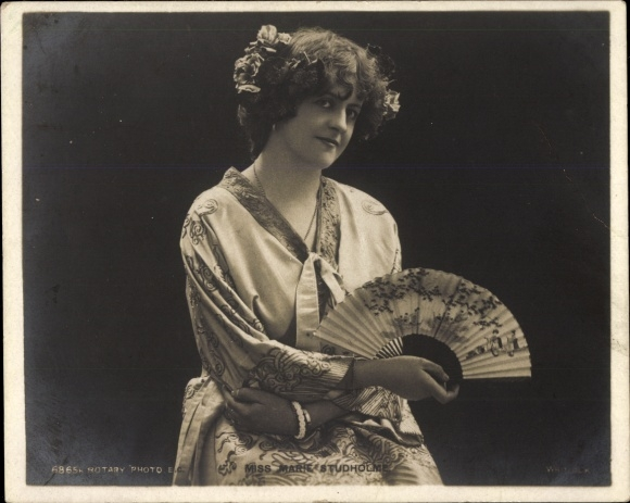Mini Ak Schauspielerin Marie Studholme, Portrait, Rotary Photo, Fächer