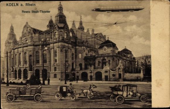 Ak Köln am Rhein, Neues Stadttheater, Straßenverkehr, Zeppelin
