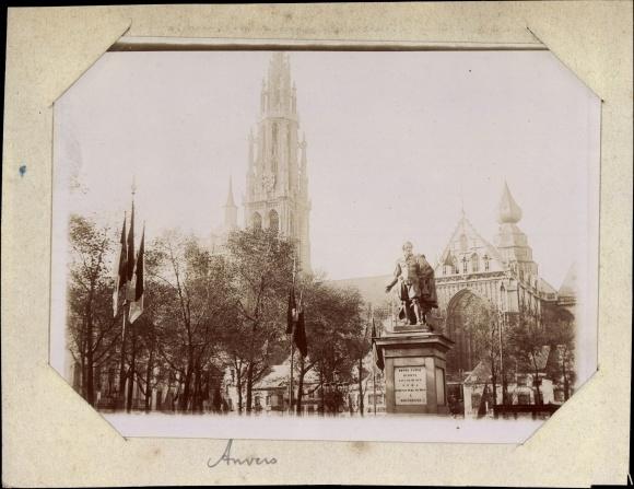 Foto Antwerpen Anvers Flandern, Petro Paulo Rubens Denkmal, Kathedrale