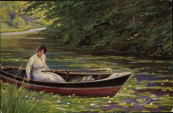 Künstler Ak Mailick, Frau in einem Ruderboot, Seerosen, Wasserrosen