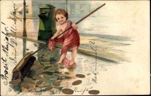 Präge Litho Straßenfeger fegt Münzen mit einem Besen von der Straße