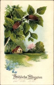 Präge Litho Glückwunsch Pfingsten, Zwei Maikäfer auf einem Baum, Frühlingslandschaft