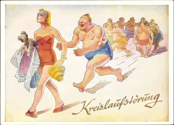 Künstler Ak Kreislaufstörung, Männer am Strand, Frau in Badeanzug, Lengauer Karte Nr 3063a