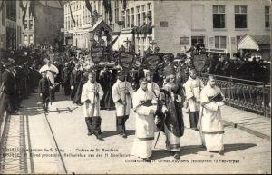 Ak Bruges Brügge Flandern Westflandern, Procession du S. Sang, Châsse de St. Boniface, Geistliche