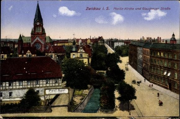 Ak Zwickau in Sachsen, Blick auf die Moritzkirche, Glauchauer Straße