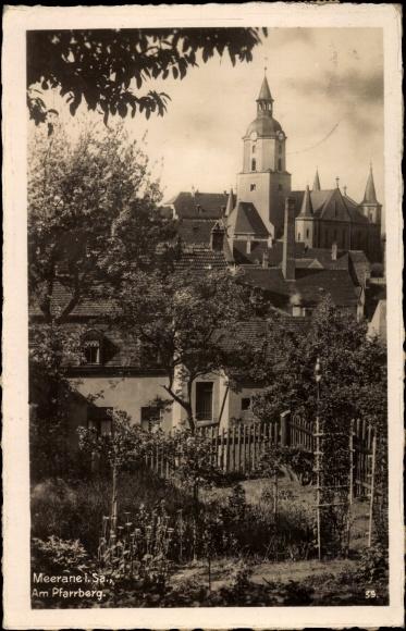 Ak Meerane in Sachsen, Stadtansicht, Partie am Pfarrberg, Glockenturm