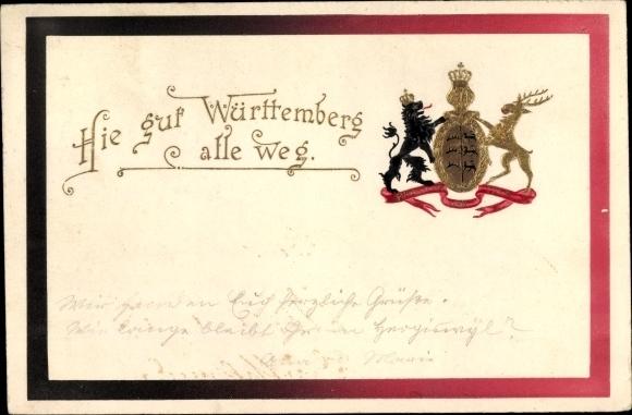 Präge Ak Hie gut Württemberg alle weg, Wappen