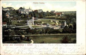 Ak Eisenberg im Saale Holzland Kreis, Blick über den Geyers Garten