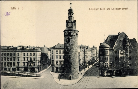 Ak Halle an der Saale, Blick auf den Leipziger Turm und die Leipziger Straße
