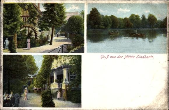 Ak Lindhardt Naunhof im Kreis Leipzig, Ansichten der Mühle Linhardt, Wasserpartie mit Booten