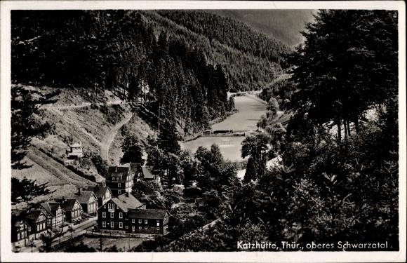 Ak Katzhütte im Schwarzatal Thüringen, Blick auf oberes Schwarzatal