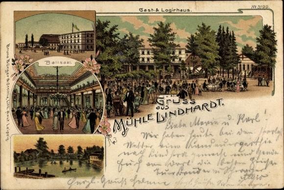 Litho Lindhardt Naunhof im Kreis Leipzig, Mühle Lindhardt, Ballsaal, Gast- und Logirhaus