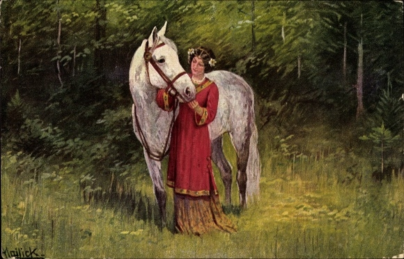 frau wird von pferd genommen