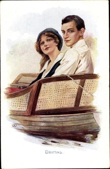 Künstler Ak Drifting, Liebespaar in einem Ruderboot