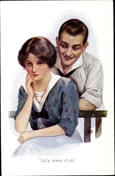 Künstler Ak Let's make it up, Liebespaar, Frau auf einer Bank sitzend