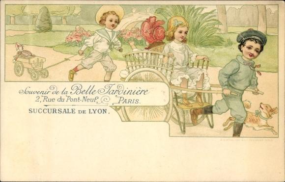 Litho Souvenir de la Belle Jardinière, Rue du Pont Neuf, Paris, Succursale de Lyon, Rikscha