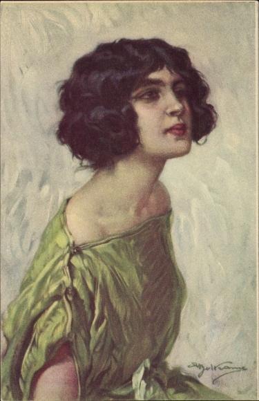 Künstler Ak Beltrame, Portrait einer Frau mit kurzen dunklen Haaren