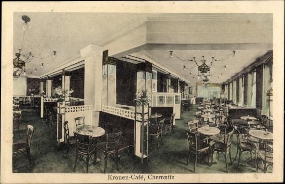 Ak Chemnitz in Sachsen, Kronen Café, Bes. M. L. Brückner, Innenansicht
