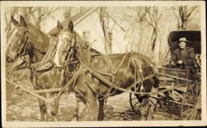 Foto Fuhrwerk, Kutsche, Zweiergespann, Pferde, Fahrer