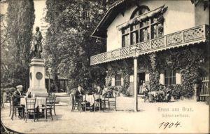 Ak Graz Steiermark, Blick auf das Schweizerhaus, Terrasse, Denkmal