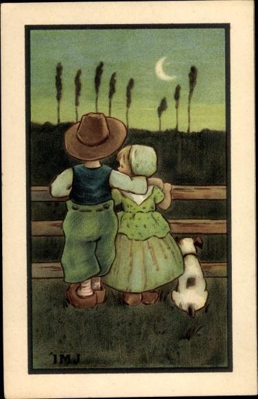 Künstler Ak Junge und Mädchen stehen Arm in Arm an einem Zaun