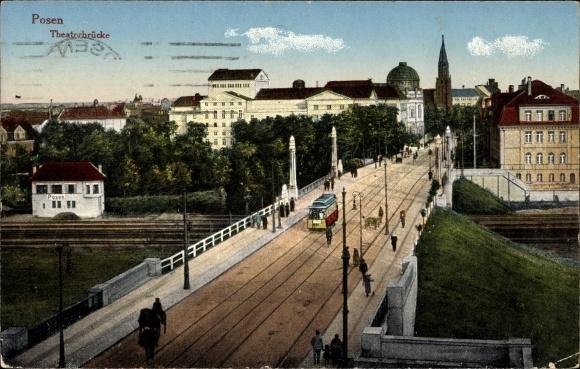 Ak Poznań Posen, Partie an der Theaterbrücke, Straßenbahn, Bahnhof, Bahnstrecke