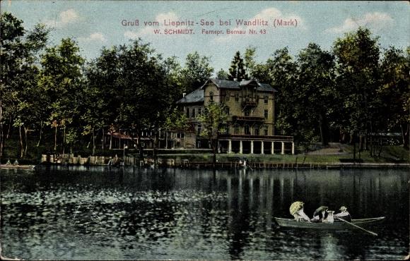 Ak Liepnitzsee bei Wandlitz im Kreis Barnim, Blick auf ein Haus vom Wasser aus, Ruderboot