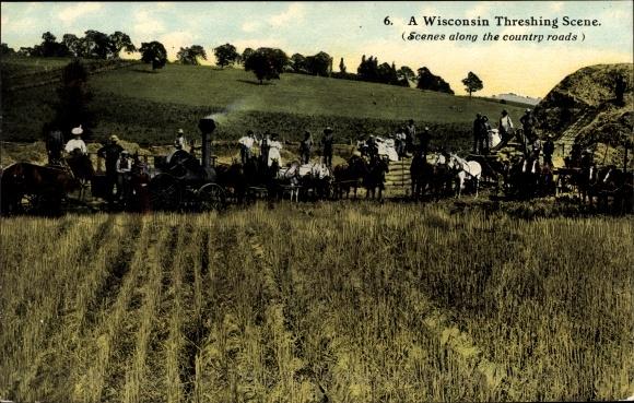 Ak Wisconsin USA, Threshing Scene, Mähdrescher, Dampftraktor, Erntearbeiten