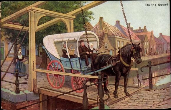 Künstler Ak Gerstenhauer, Johann Georg, Kutsche auf einer Klappbrücke