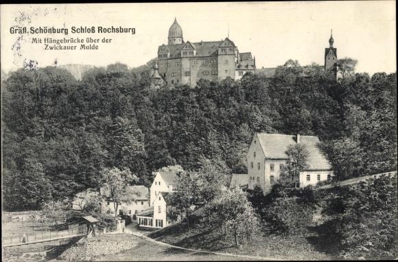 Ak Rochsburg Lunzenau in Sachsen, Gräfl. Schönburg Schloss Rochsburg, Hängebrücke