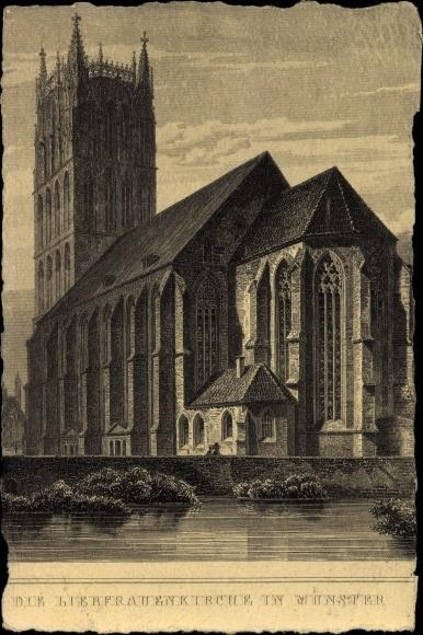 Künstler Ak Münster in Westfalen, Blick auf die Liebfrauenkirche, Flusspartie