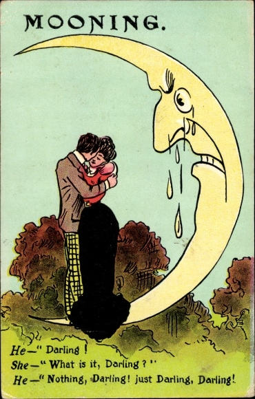 Künstler Ak Mooning, Liebespaar umarmt sich, weinender Mond